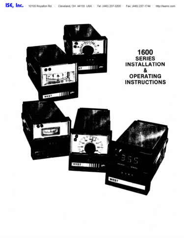 Installation and Operation Manual For  West 1600 Series Controllers