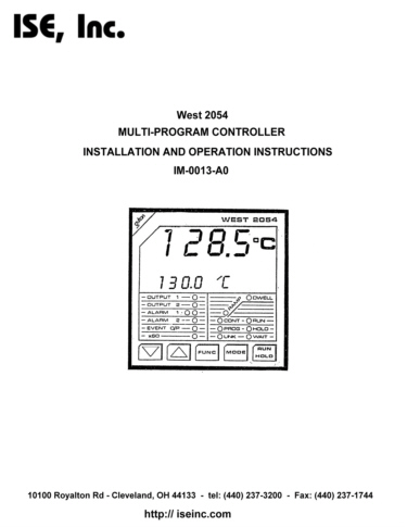 Installation and Operation Manual For  West 2054 Series Controllers
