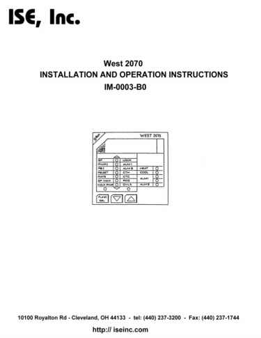 Installation and Operation Manual For  West 2070 Series Controllers