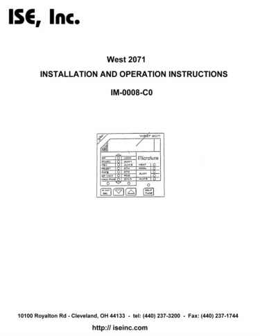 Installation and Operation Manual For  West 2071 Series Controllers