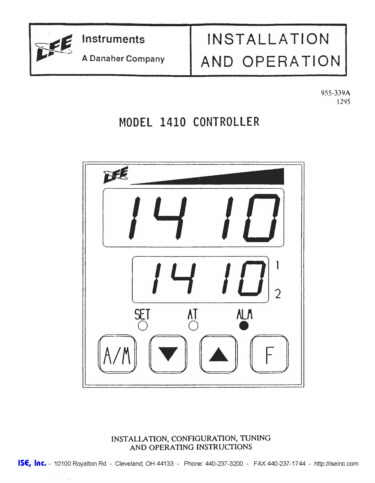 Installation and Operation Manual for LFE 1410 Controls