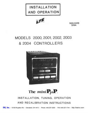 Installation and Operation Manual for LFE 2000 / 2001 / 2002 / 2003 / and 2004 Controls