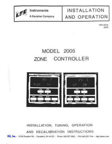 Installation and Operation Manual for LFE 2005 Controls