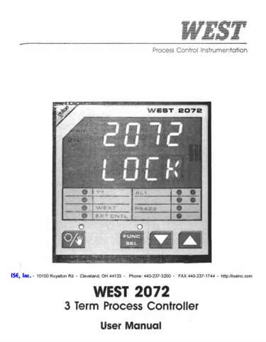 Installation and Operation Manual For  West 2072A Series Controllers