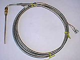 J20S28F A=6 in  B=6 FT. / 90 Deg. Bend 6 Inch (3/16 in Diameter) Probe / 6 Ft leads / 1/8 NPT Brass Compression Fitting / Type J