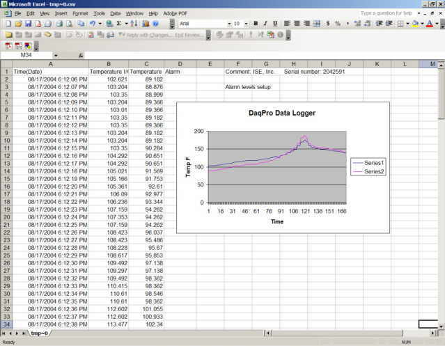 Data logger software transfer to Excel